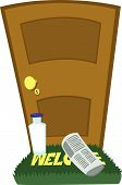 stock photo of milkman  - a vector cartoon representing a bottle of milk and a newspaper on the doormat - JPG
