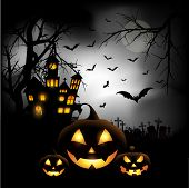 image of bat  - Spooky Halloween background with pumpkins in a cemetery - JPG