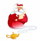 picture of genie  - Happy smiling cartoon Santa Claus coming excited out of a magic oil lamp making a genie gesture - JPG