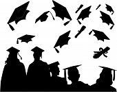 foto of graduation hat  - Graduates at commencement with the customary mortarboard toss and chat - JPG