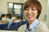image of canteen  - Teacher portrait at lunch in school cafeteria - JPG