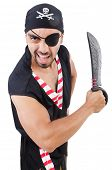 image of buccaneer  - Man in pirate costume in halloween concept - JPG