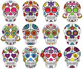 stock photo of skeleton  - Vector Set of Day of the Dead or Sugar Skulls - JPG