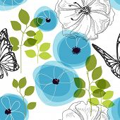 Blue flowers and butterfly over white, nature seamless pattern