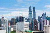 image of petronas twin towers  - Kuala Lumpur city skyline - JPG