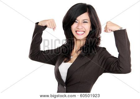 Excited Businesswoman Raised Her Hands Showing Strong Concept