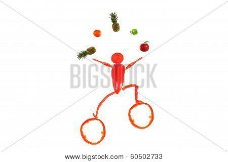 Little Funny Juggler Made ??of Pepper.
