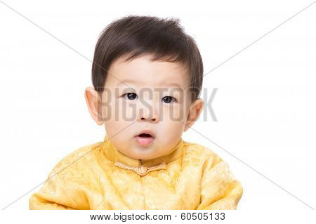 Chinese baby boy isolated