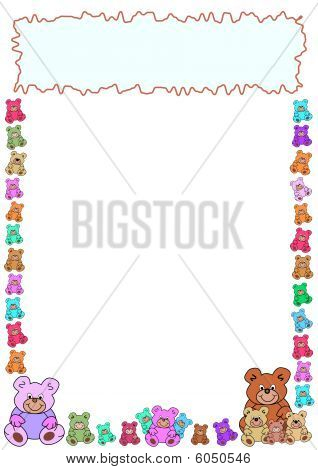 border of teddy bears with frame in the top