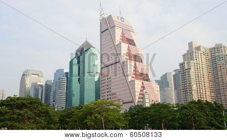 SHENZHEN - OCT 28: downtown skyscrapers on October 28, 2011 in Shenzhen, China. Shenzhen is a major city in the south of Southern China's Guangdong Province, situated immediately north of Hong Kong