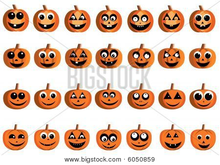 Happy pumpkin faces