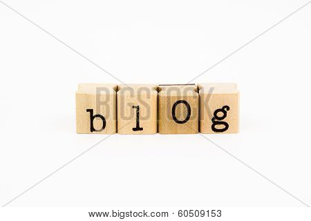 Blog Wording Isolate On White Background