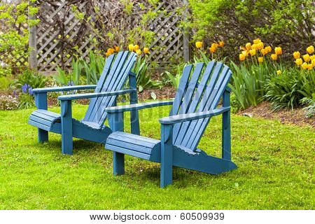 A pair of wooden Adirondack chairs in the spring garden.