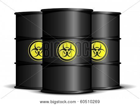 detailed illustration of bio hazard waste barrels, eps10 vector