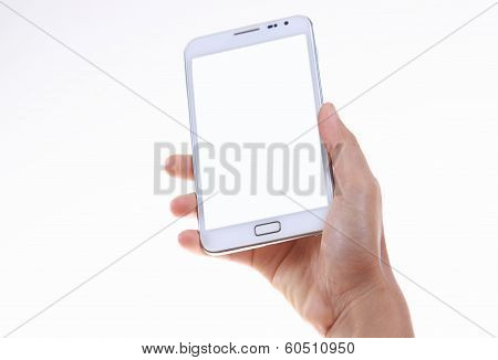 Female Hand Holding And Showing Blank Smart Phone