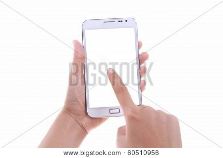 Female Hand Holding And Touching Blank Screen Smart Phone