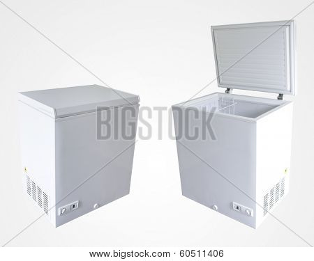 Open and closed freezers isolated on plain background