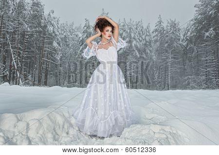 Bride In Winter Forest.