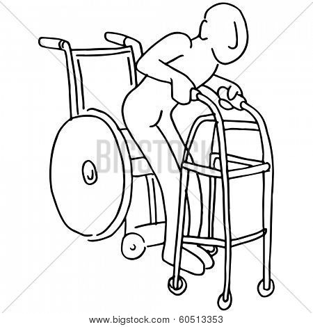 An image of a man moving from a wheelchair to a walker.