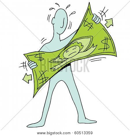An image of a man stretching a dollar.