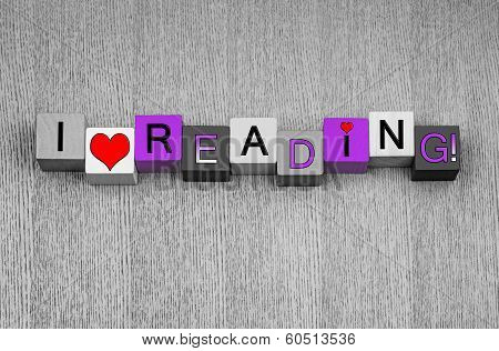 I Love Reading, Sign for Books and Fairy Stories, Pink.