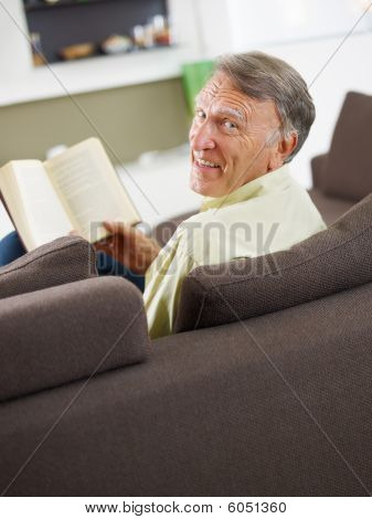 Senior Man Reading Book