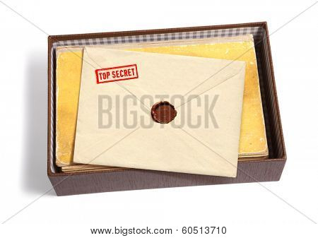 dorsal view of military message and other documentation isoated on white background with path