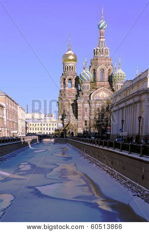 Church of the Resurrection (Savior on Spilled Blood) in St. Petersburg in the winter