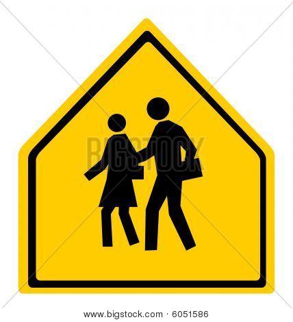 School Warning Crossing Sign