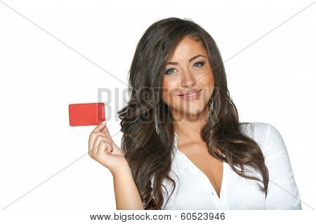 Beautiful smiling girl showing red card in hand