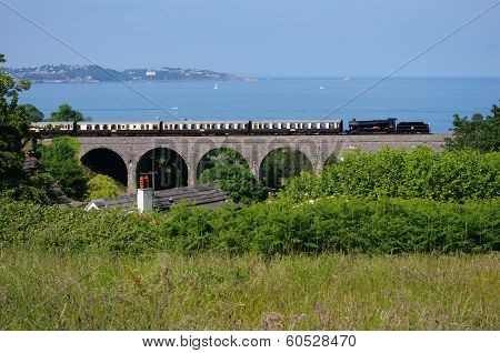 Steam Train over Viaduct