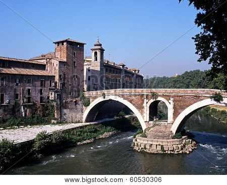 Bridge across river, Rome, Italy.