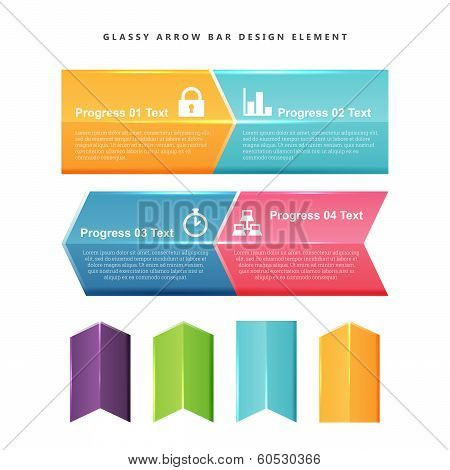Glassy Arrow Bar Design Element