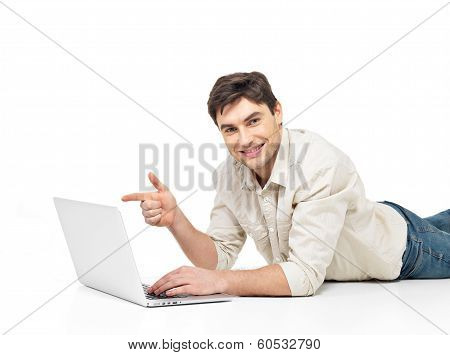 Man With Laptop  And Points On The Screen