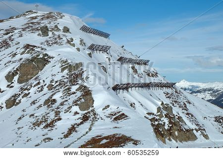 Anti Avalanche Structures On The Side Of A Mountain
