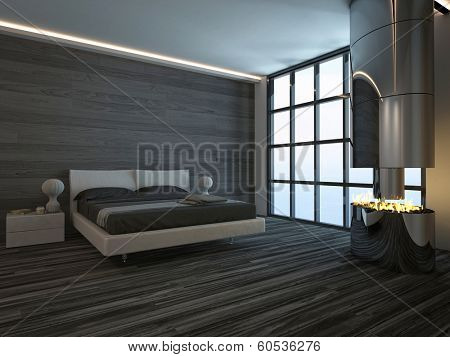 Black style bedroom interior with fireplace
