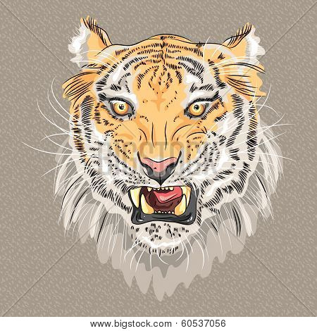 Vector Menacing Growling Tiger