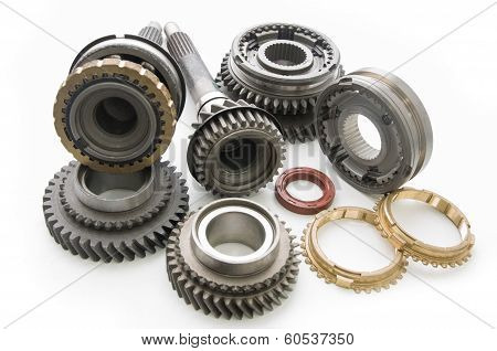 spare parts from the transmission of the car