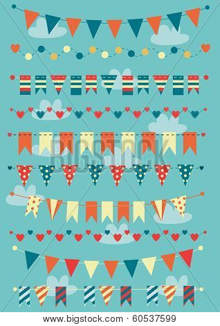 Colorful bunting and garlands