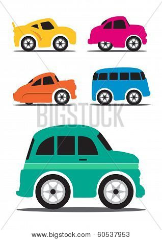 Different Retro  Car Cartoon Illustration