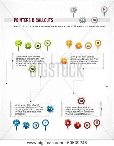 Interface elements set, map location pointer pin, infographics digaram callout vector