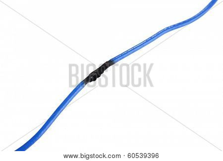 Short circuit, burnt cable, isolated on white