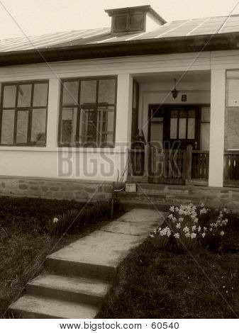 Traditional House With Porch In B&w