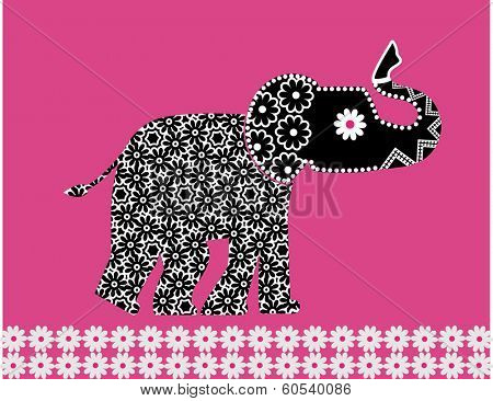 Elephant decal with flower pattern