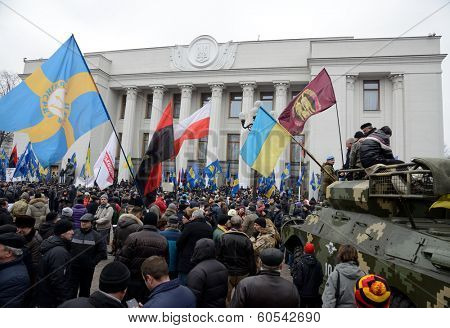 KIEV, UKRAINE - February 27, 2014: Ukrainian revolution. Demonstration in front of the Supreme Council (Verhovna Rada)