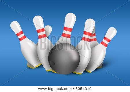 Bowling pins and ball with bowling