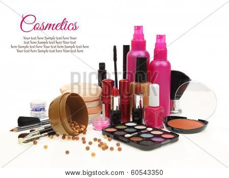 Various beauty products isolated on white background