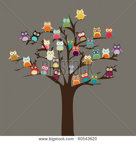 Cute Owl on Tree | Vector Background