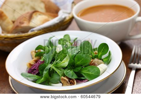 fresh corn salad with bread and soup
