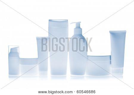 set of cosmetic bottles isolated on white background